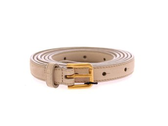 Beige Leather Suede Belt Belt Size: 90 cm / 36 Inches