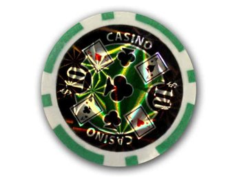 Poker chips Casino laser $10 grön-50 st