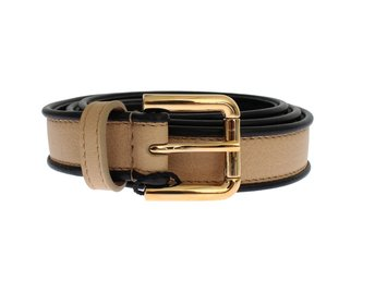 Dolce & Gabbana - Beige Leather Gold Buckle Logo Waist Belt