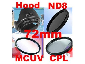 NY!!72mm Filter Paket MC UV+CPL+ND8+Motljusskydd Kamera