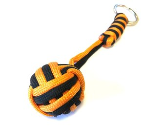 Paracord MonkeyFist / Apnäve -  nyckelring orange black