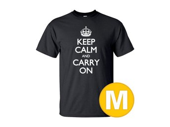 T-shirt Keep Calm And Carry On Svart herr tshirt M
