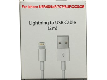 2m iPhone Laddare USB Kabel Kablar Cable 5/5s/6/6Plus/6s/6splus/7/7plus/8/8/X