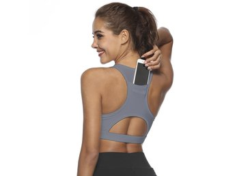 Phone Pocket Sport Bra - Medium, Grå