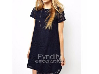 Hollow Out Lace Mini Dress Mörkblå Strlk XL