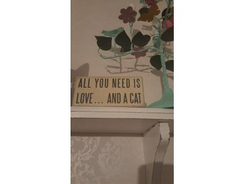Shabby Chic Katt Skylt All you need is love and a cat Dekor Inredning Present
