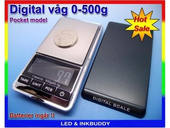Digital brev våg 1g - 500g pocket scale inklusive 2st AAA batterier