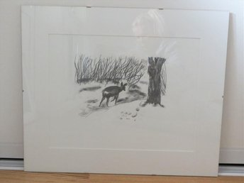 Evy Låås, stor litografi, rådjur - Vallentuna - Evy Låås, stor litografi, rådjur - Vallentuna