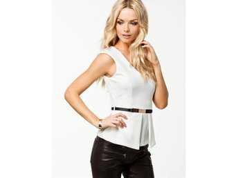 River Island V-neck Belted Peplum Top Nelly Vit