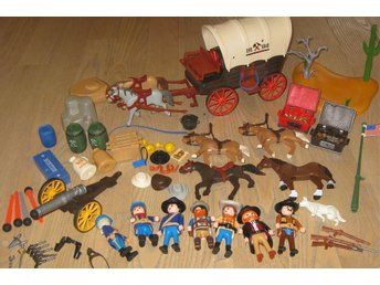 Playmobil Western Cowboys, diligens mm. Stort paket!