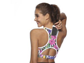 Phone Pocket Sport Bra -Medium, Flower