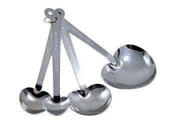 NY! 4Pcs Love Hjärta Stainless Steel Sked Set