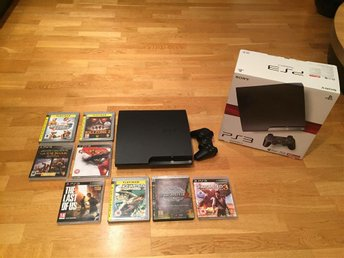 Sony PlayStation 3 Slim 120GB med 9 spel