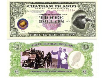 3 Dollar Banknote Chatham Islands 2000  Uncirculated Polymer PI