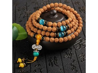 Blå 8mm Bodhi Seed Tibet Buddhist 108 Prayer Beads Armband Cuff Wrap Bangle