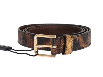 Dolce & Gabbana - Brown Leopard Print Gold Buckle Belt
