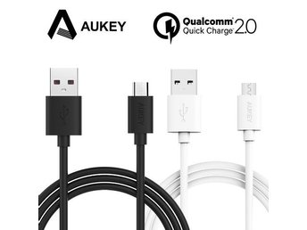 Aukey - 2 meter QUICK CHARGE micro-USB kabel (Färg: vit)