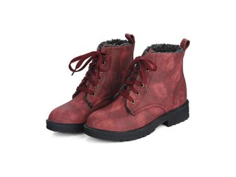 Dam Boots Shoes Lace up Square Toe Boots WHY203 Red Size 39