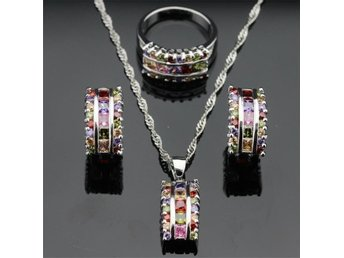 VACKER MULTI COLOR Topas 925 sterlingsilver halsband hänge Örhängen ring 19 mm