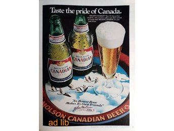 MOLSON BEER - THE PRIDE OF CANADA TIDNINGSANNONS Retro 1979