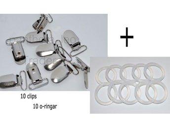 10 Clips 10 ringar för Napphållare Nappband o-ring nappring metallclips DIY - Upplands Väsby - 10 Clips 10 ringar för Napphållare Nappband o-ring nappring metallclips DIY - Upplands Väsby