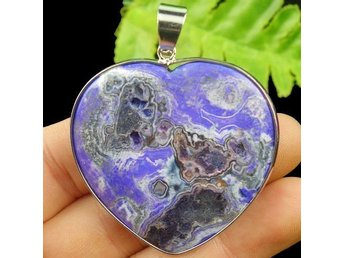 Wrapped Purple Fire Agate Heart Pendant 46x44x5mm Hänge