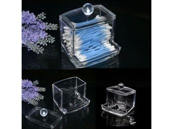 Clear Acrylic Cotton Swab Storage Q-tip Holder Box Makeup Storage