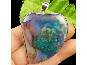Wrapped Blue Fire Agate Heart Pendant Bead 50x43x7mm Hänge