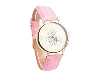 Klocka Herr Retro Owl Design Leather Pink