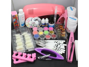 Pro Nail Art UV Gel Set Tools Pink UV lamp Brush Tips Glue Acrylic Powder Set