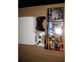 Playstation 3 Slim 300 GB + 4 spel, två dosor.