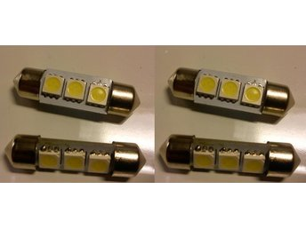 4st 36mm vit spollampa/festoon 3 vita SMD 5050 LED 12v