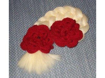 2 st virkade röda rosor till håret - Fristad - 2 st virkade röda rosor till håret - Fristad