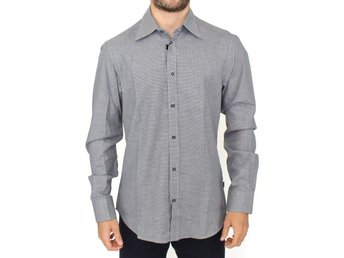 Cavalli - Gray checkered cotton button shirt