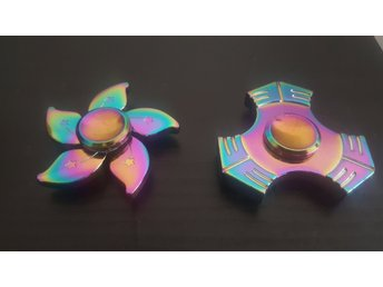 2 st Fidget Spinner - Metall rainbow