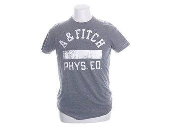 Abercrombie & Fitch, T-shirt, Strl: M, Muscle, Grå/Vit, Bomull/Polyester
