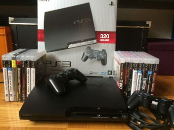 Playstation 3 slim 320 GB + 2 handkontroller + 15 spel