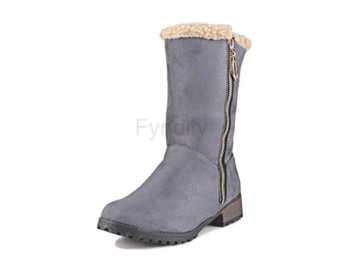 Dam Boots Fur Botas Woman Shoes Footwear Size 33-47 Gray 36