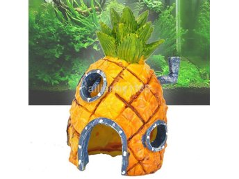 Resin SpongeBob Ananashus Hole Fish Tank Aquarium Decoration Yellow