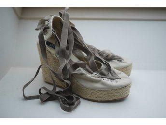 f134e865aba Beiga höga platå/högklackade sandaletter med snörning runt anklar, storlek  40