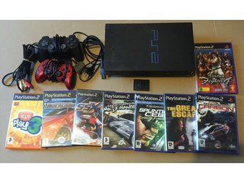 PlayStation 2 Konsol, 2 Handkontroller , 8 SPEL + Minneskort - PS2