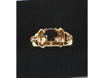 Goldfilled, 18K Guldfylld Ring med svart Onyx, 21,4mm