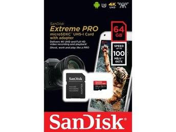SANDISK Minneskort MicroSDXC Extreme Pro 64GB Rescue Pro Deluxe 100MB/s A1 C10 V