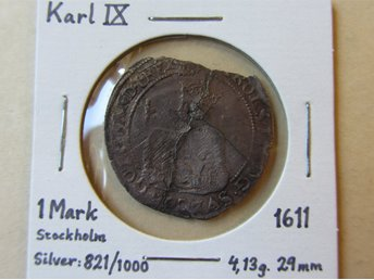 Karl IX, 1 Mark i silver, 1611