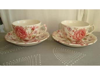 2 koppar, Rose Chintz, Johnson Bros, England, vintage, retro, fint skick