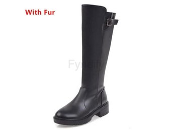 Dam Boots Plush Inside Shoes Feminina Bota Black fur 36