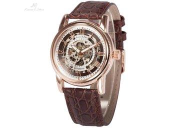 KS Rose Gold Mechanical Transparent Leather Strap Skeleton Automatic Watch - Riga - KS Rose Gold Mechanical Transparent Leather Strap Skeleton Automatic Watch - Riga