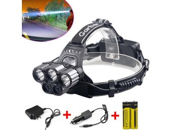 6000LM 6 Modes Cree 5x XM-L T6 LED Headlamp Head Light 2x Battery