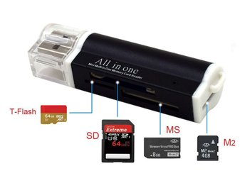Multi adapter USB: T-flash, SD, M2, MS Pro Duo