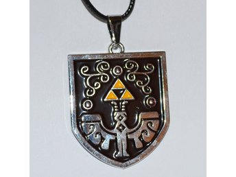 Sköld Hyrule Svart m. Triforce Zelda Halsband Metall (Legend of) Ny
